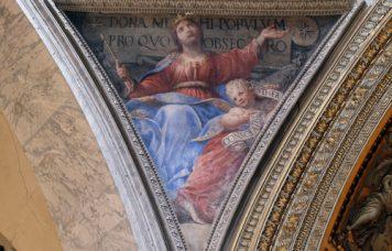 ROME, ITALY - SEPTEMBER 02: Fresco Esther by Raffaele Vanni in the Church of Santa Maria del Popolo, Rome, Italy on September 02, 2016, Shutterstock